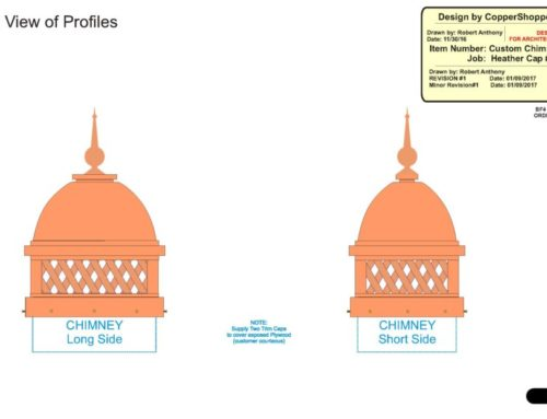 Copper Chimney Cap with Domed Roof – Lattice – and Spire / Finial