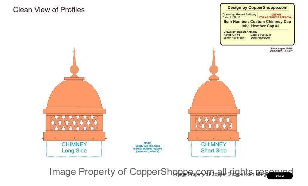 Copper Dome Style Chimney Cap with Lattice and Copper Spire