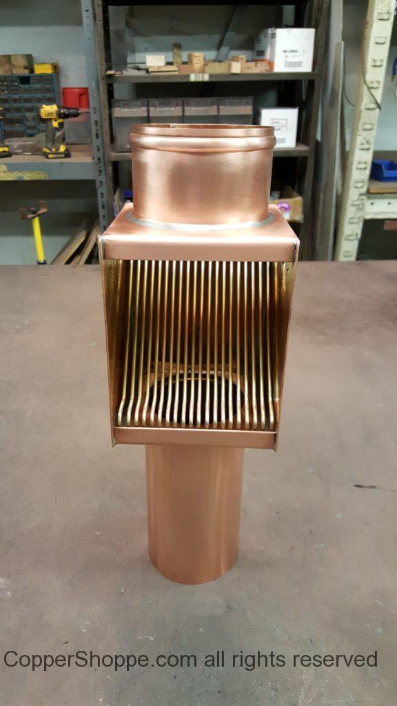AutoClear Brasstonian Series Copper Downspout Cleanout Filter Leaf Diverter