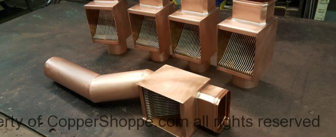 AutoClear Brasstonian Series Copper Downspout Cleanout Filter Leaf Debris Diverter