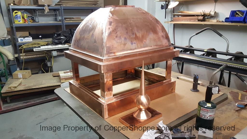 Copper Dome Style Chimney Cap with Lattice and Copper Spire