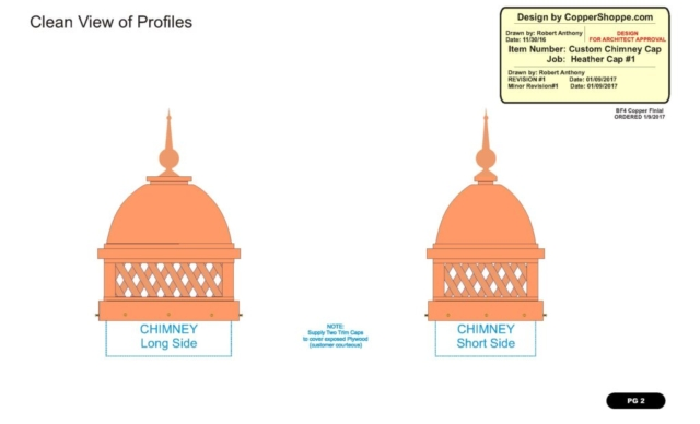 Copper Dome Style Chimney Cap with Lattice and Copper Spire Shop Drawing
