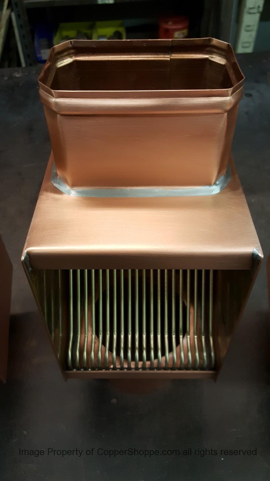 AutoClear Brasstonian Copper Downspout Leaf Debris Diverter Filter Cleanout for Rectangular Downspouts