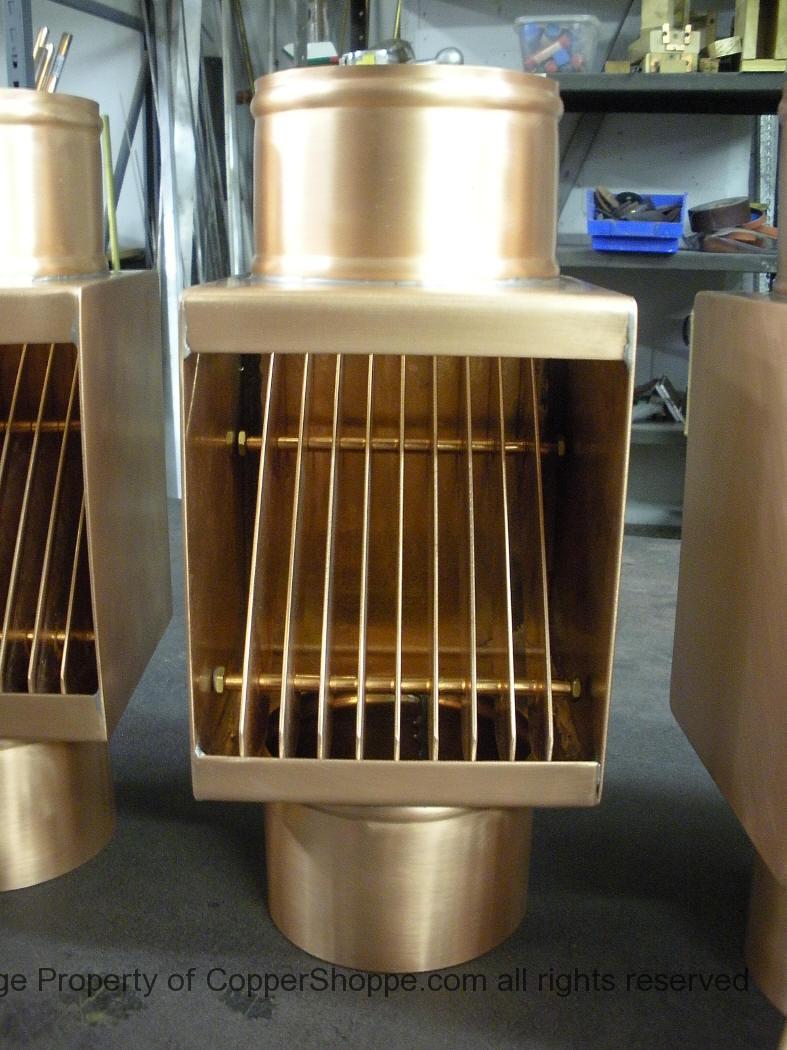 AutoClear Classic Copper Downspout Leaf Debris Diverter Filter Cleanout for Round Downspouts