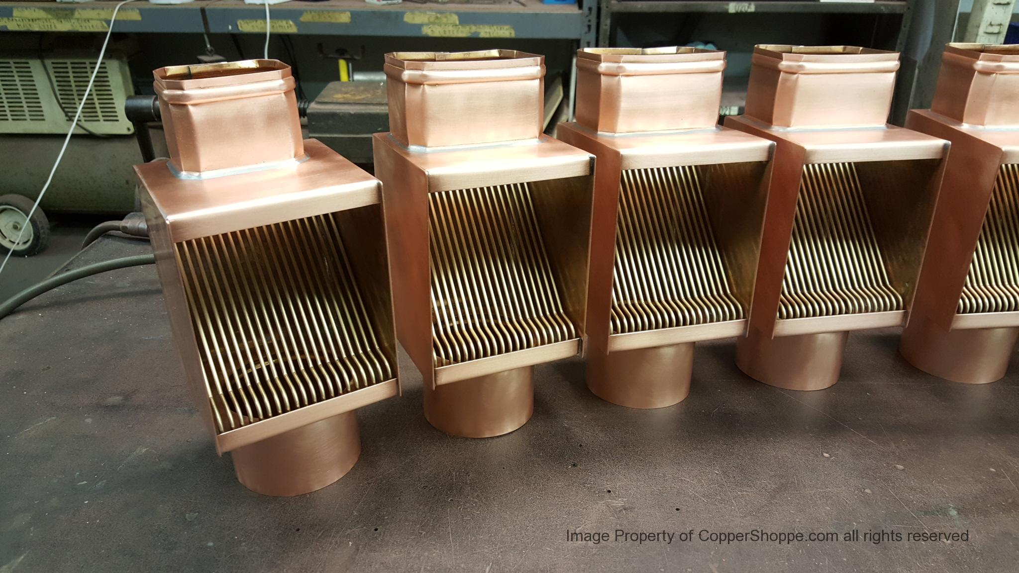 AutoClear Brasstonian Copper Downspout Leaf and Debris Diverters, Filters Cleanouts for Rectangular Downspouts