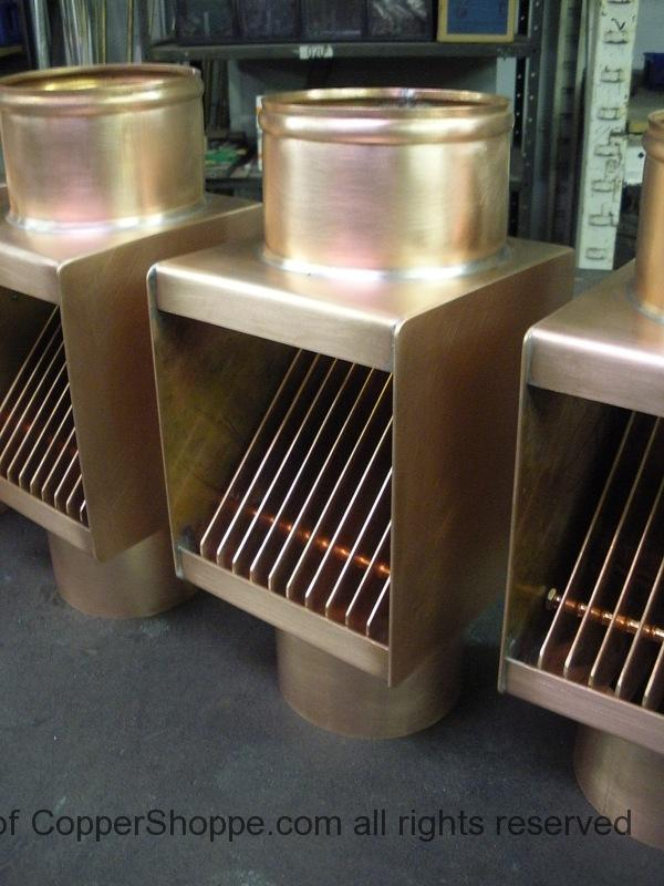 AutoClear Classic Copper Downspout Leaf and Debris Diverters, Filters Cleanouts for Round Downspouts