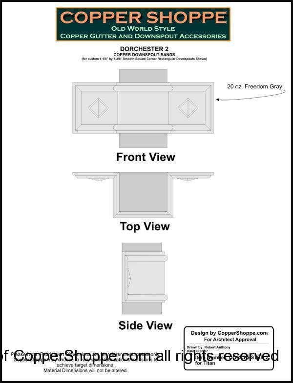 Dorchester 2 Ornamental Decorative Copper Downspout Bands Straps in Freedom Gray Shop Drawing