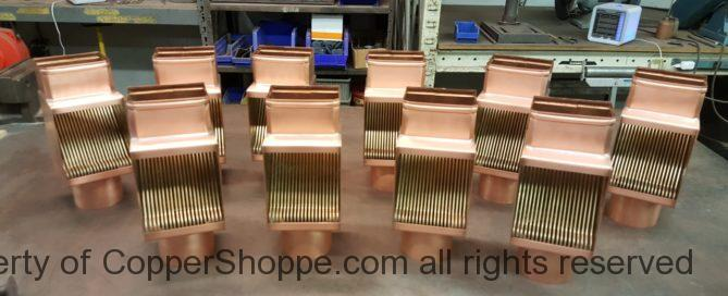 AutoClear Brasstonian Standard Leaf and Debris Diverters Filters Cleanouts for Custom Rectangular Copper Downspouts