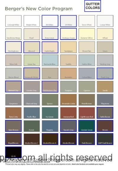Berger Brothers Gutters Color Chart