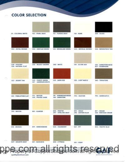Quality Aluminum Products Color Chart