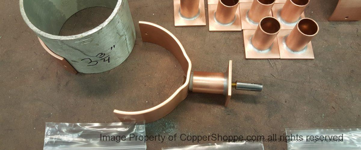 U Style Copper Downspout Brackets with Bandit Bases