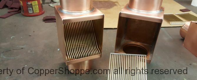 AutoClear Custom Copper Downspout Leaf and Debris Diverters Filters Cleanouts