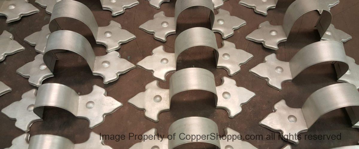 Fleur-de-Lis Freedom Gray Ornamental Copper Downspout Bands