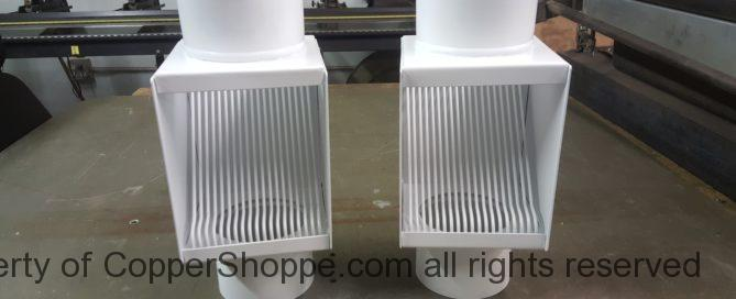 """AutoClear PCSS in White to fit 4"""" Round Downspouts. Best leaf diverter filters cleanouts."""