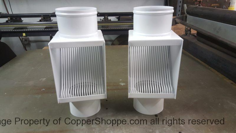 "AutoClear PCSS in White to fit 4"" Round Downspouts. Best leaf diverter filters cleanouts."