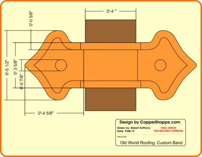 Fleur-di-Lis 2 Ornamental Copper Downspout Band for Large Rectangular downspouts