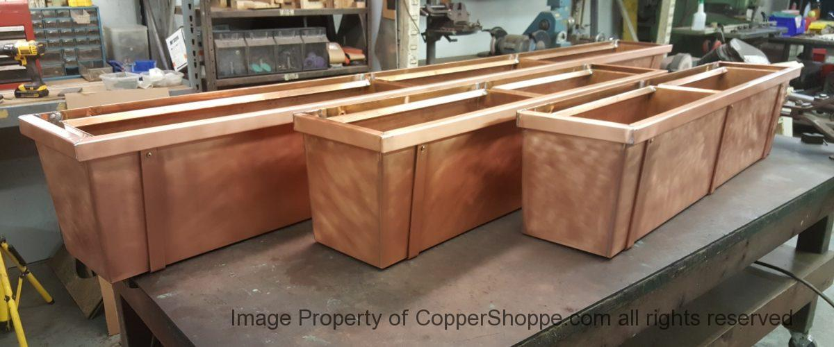 Custom Copper Planter Boxes
