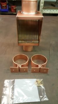 AutoClear Brasstonian Copper Downspout Leaf Diverters, Filters, Cleanouts and Knoke Downspout Brackets