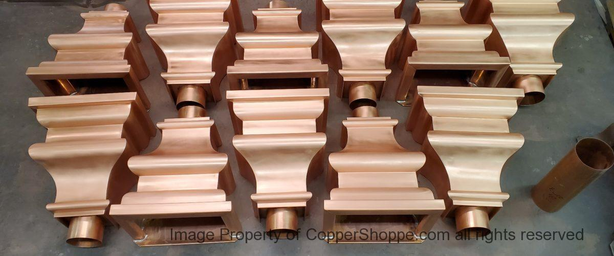 Old World 10 Copper Leader Heads Collector Boxes for 4″ Round European Downspouts