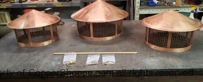 Round Copper Chimney Flue Caps