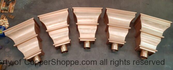Old World 5 Copper Leader Boxes Conductor Heads