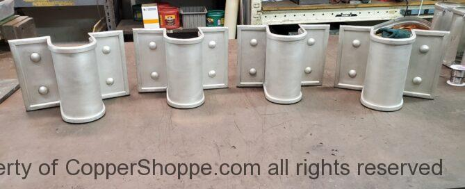 Winthrop Ornamental Decorative Copper Downspout Bands in Freedom Gray Round 2